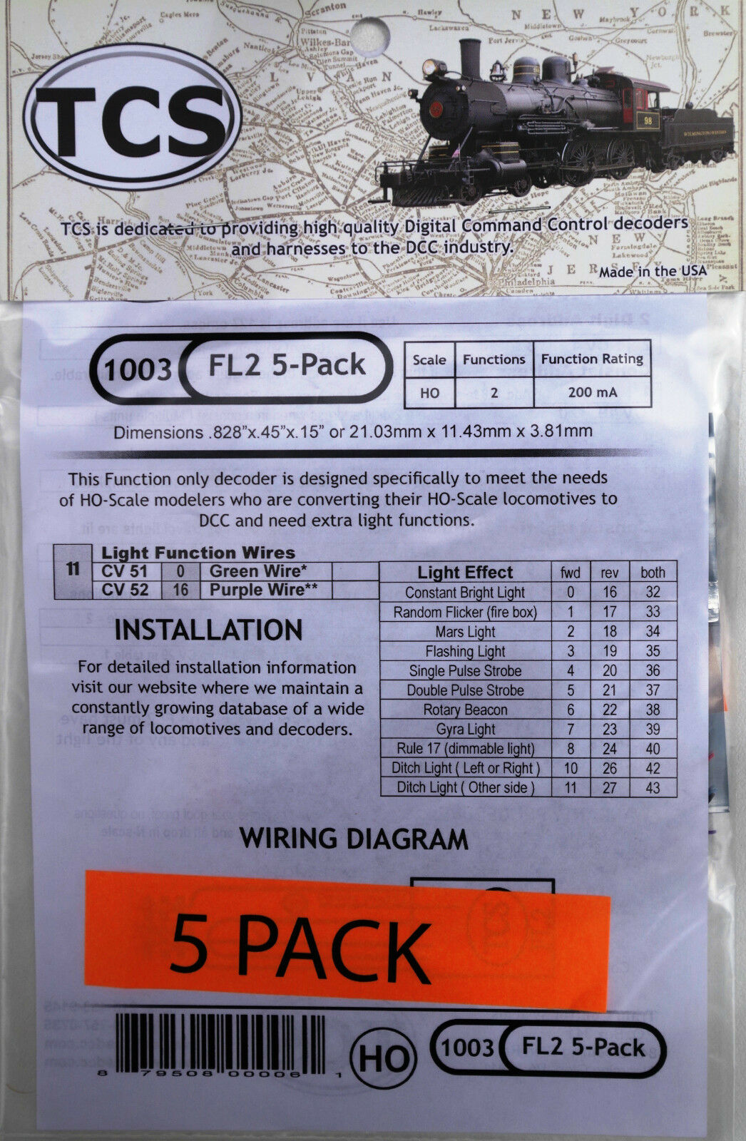 DCC decoder TCS FL2, divertimentoction Only,2 lighting divertimentoctions  5 Pack