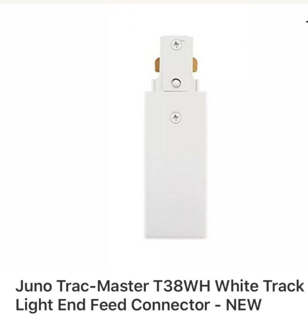 Juno Trac-Master T38WH Track Light End Feed Connector 2 FREE SHIP New In Box