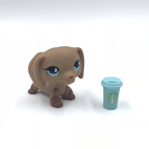 Littlest Pet Shop Dachshund dogs LPS toys #518 blue eyes dog with Accessories