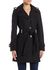NWT AUTHENTIC CALVIN KLEIN WOOL BLEND BELTED LONG COAT - SIZE 12 BLACK $298