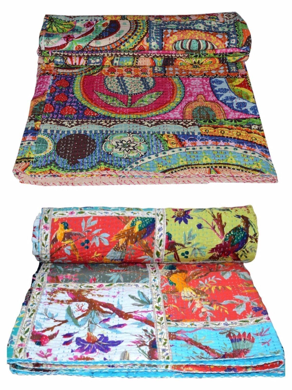 Kantha Quilt Indian Vintage Reversible Throw Handmade Blanket Multi Print Quilts