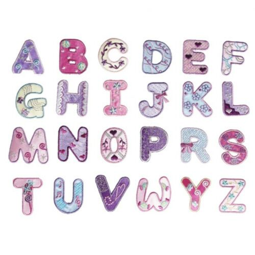Floral Letter Patch Patches Iron on Sew on Retro Alphabet Embroidery Clothes