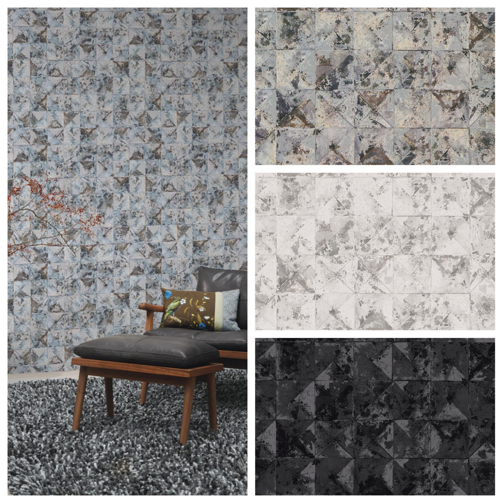 Vlies Tapete Beton Mosaik Fliesen Kacheln Grau Silber Schwarz