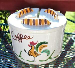 Vintage-Ceramic-Rooster-California-Canister-Set-RARE-Round-Country-Farm-Chicken