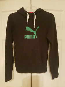 e75f21eec71 Details about PUMA Green Graphic Logo Pullover Black Hooded Sweatshirt  Hoodie Women's Size S
