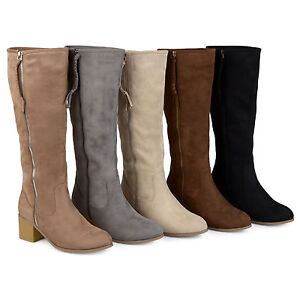3c485e10223 Brinley Co Womens Regular and Wide-Calf Faux Suede Mid-calf Wood ...