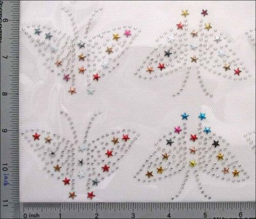 "45 Pcs Rhinestuds IronOn Hot Fix Colorful Butterfly Insect 3.25/""x2.5/"" IR010e"