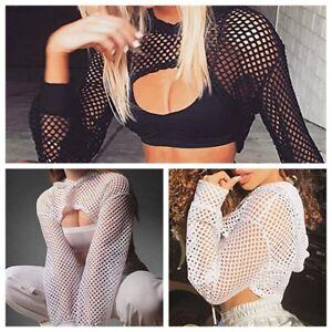 d6cb34451af Womens Crop Top Ladies Mesh Hoodie Shirts Fishnet Long Sleeve T ...