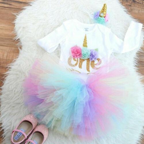 3PCS Baby Girls 1st Birthday Outfit Party Romper Skirt Cake Smash Tutu Dress Set