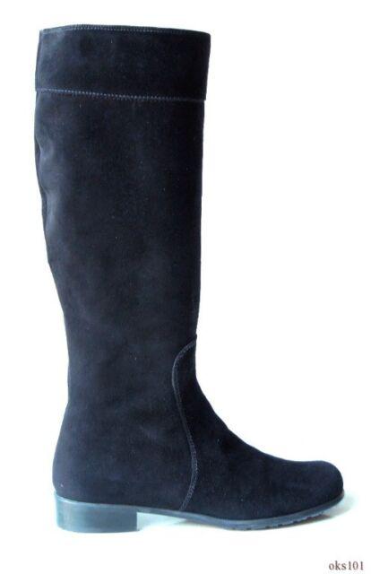 76aa4d68f49 Stuart Weitzman 'rider' Black Suede Tall Flat BOOTS Shoes 6.5