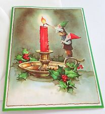 Unused Vtg Christmas Card Pixie Holding Pixie Lighting Candle with Match