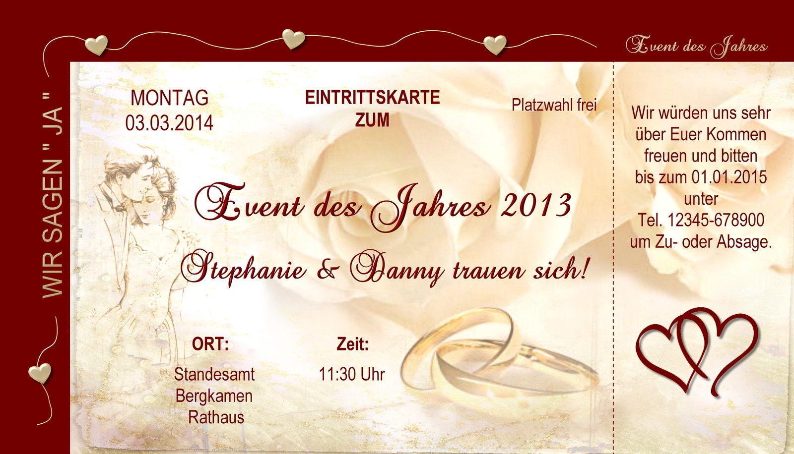 50 Eintrittskarten Hochzeit Einladungskarten Einladungen Hochzeitskarten Liebe
