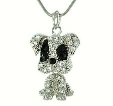 Dog W Swarovski Crystal Puppy Pet Necklace Movable Pendant Jewelry Charm