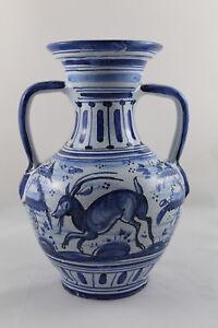 Antiguo Jarron Vasija porcelana Azul TALAVERA Pintado a mano Circa.1940 Firmado