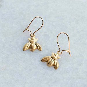 Image Is Loading Bee Earrings Gold Kidney Ear Wires Small Raw
