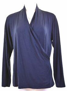 RALPH-LAUREN-Womens-Wrap-Top-Long-Sleeve-Size-18-XL-Navy-Blue-Viscose-LN13