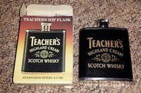 NEW IN BOX TEACHERS HIGHLAND CREAM SCOTCH WHISKY 2.5 OZ BLACK GOLD HIP FLASK