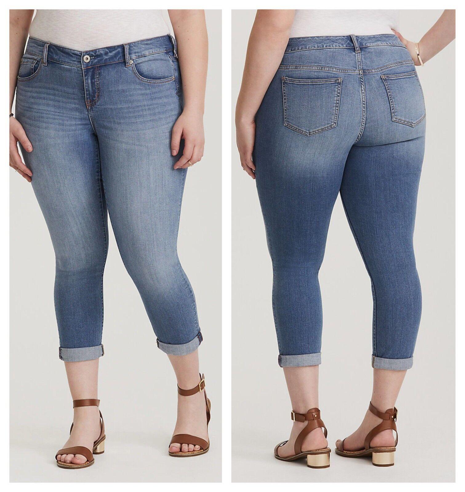 Torrid Premium Stretch Cropped Jeans Light Wash 4X 26