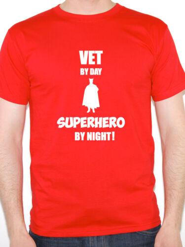 Veterinary Novelty Themed Mens T-Shirt Animals VET BY DAY SUPERHERO Fun