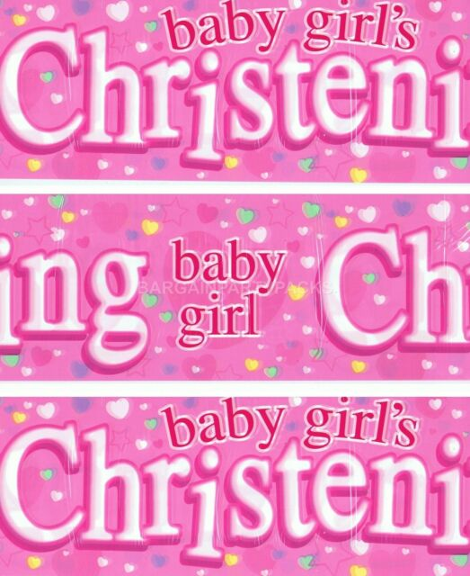 HAPPY CHRISTENING GIRL PACK OF 3 BANNERS PINK WALL DECORATIONS (EX)