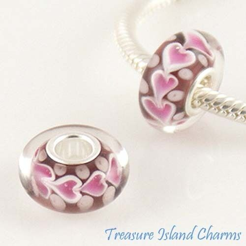 PINK HEARTS LOVE MURANO LAMPWORK GLASS .925 Sterling Silver EUROPEAN Bead Charm