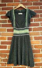 Free People womens small sweater dress jumper gray Nordic green blue white