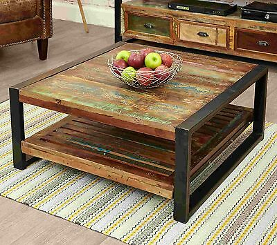 Agra Reclaimed Wood Furniture Square Living Room Coffee Table Ebay