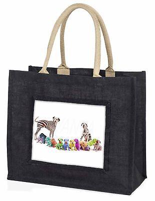 bunt Dalmatiner Hunde große schwarze Einkaufstasche Weihnachtsgeschenk