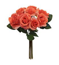 CORAL REEF Rose Bridal Bouquet Hand Tied Silk Wedding Flowers Centerpieces Decor