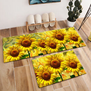 Details About Summer Sunflowers Pattern Area Rugs Kitchen Bedroom Living Room Floor Mat