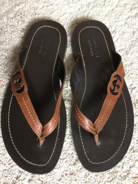 6a9ee2dc9 Gucci Men s Shoes Brown Leather Sandals Flip Flops EU 40 UK 6 US 7 for sale  online