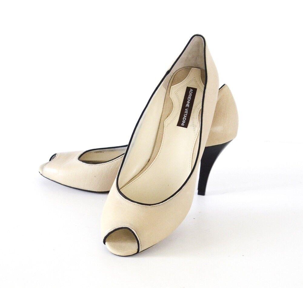 Adrienne Vittadini Peep Toe Pumps Heels Biege Leather w Black trim Size 10M
