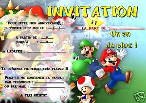 5 Ou 12 Cartes Invitation Anniversaire Mario Ref 296 Ebay