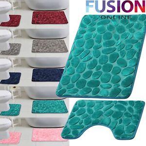 Pebbles-Bath-Mat-Pedestal-Mat-Memory-Foam-Set-Non-Slip-Soft-Toilet-Bathroom-Rugs