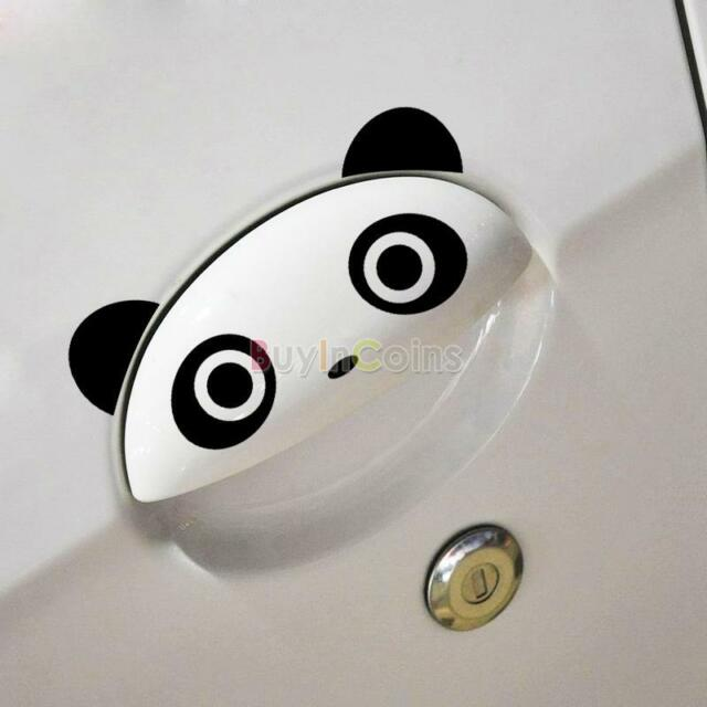 4PCS Good Personality Panda Funny hummor doorknob handle car stickers AU HF