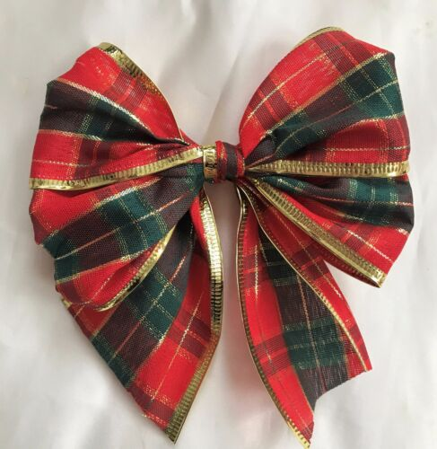 """10 X Red//dark green 5/"""" Tartan with gold  edge tie on  Bows,Gift bows,xmas tree"""