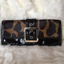 ANN TAYLOR Black Leather Calf Cow Pony Hair Animal Print Handbag Clutch C31117