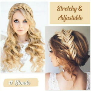 Princess-Hair-Band-Braided-Synthetic-Hair-Plaited-Fishtail-Elastic-Head-band-UK