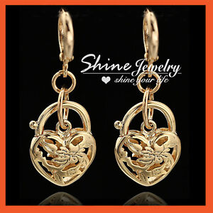 24K-GOLD-GF-HEART-BELCHER-PADLOCK-FILIGREE-DANGLE-HOOP-HUGGIES-LADY-EARRING-GIFT
