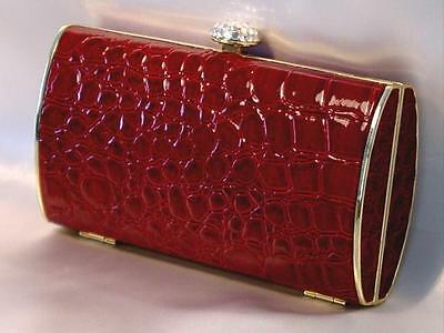 Evening Bag Red Croc Hard Case Purse with Crystal Accents