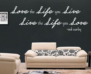 BOB MARLEY WALL ART - LOVE LIFE LIVE STICKER MURAL LYRICS LIVING ...