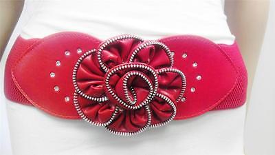 Fashionabl Women Red Waist Belt W/ Stylish Zipper Flower Buckle Size S M L XL