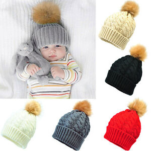 335a65ab85f UK Baby Kids Fur Pom Bobble Cap Newborn Boys Girl Warm Knit Beanie ...