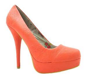 Iron-Fist-maneater-orange-de-femmes-talon-haut-chaussures-compensees-floral-en-relief-nouveau