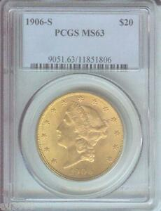 Details about 1906-S $20 LIBERTY Double Eagle PCGS MS63 GOLD COIN MS-63  Better Date !