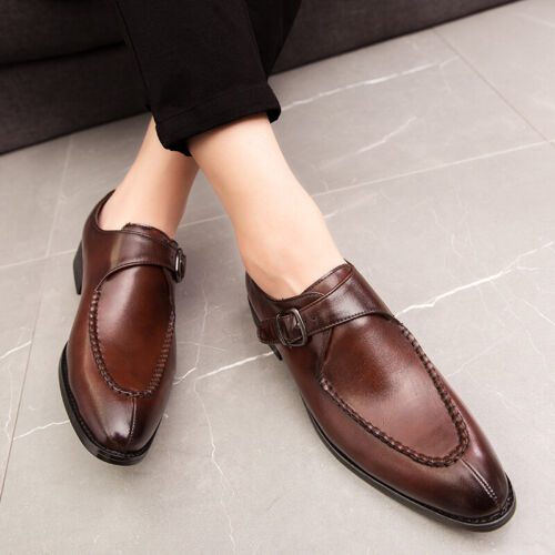 Details about  /Chic Mens Pumps Slip On Buckle Business Casual Wedding Shoes Pointy Toe Oxfords
