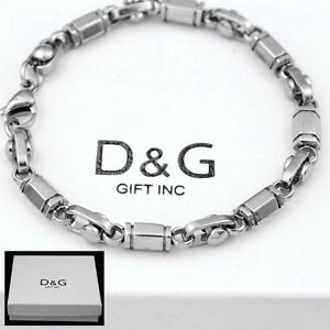 DG-Men-039-s-9-034-Silver-Stainless-Steel-6mm-Link-Chain-Bracelet-Unisex-BOX