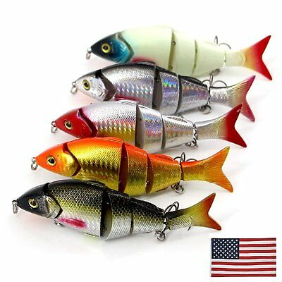 5pcs//Lot Fishing Lure Jointed Lures 4 Sections Swimbait Baits Tackle 19g-12.7cm