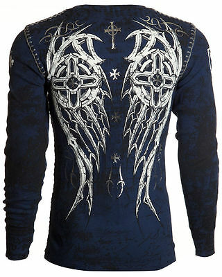 Archaic AFFLICTION Mens THERMAL Whipstitch Shirt SPIKE WINGS Biker UFC M-3XL $58