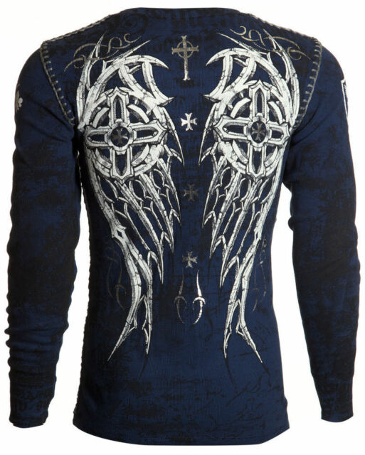 Archaic AFFLICTION Men THERMAL Whipstitch Shirt SPIKE WINGS Tattoo Biker UFC $58